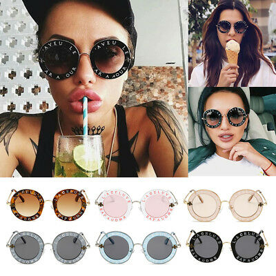 Women Men Sunglasses Retro Round Circle Classic Bee Letters Eyewear Glasses Hot