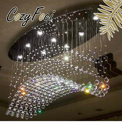 Galaxy LED Crystal Wave Chandelier Pendant Ceiling Lamp Lighting Modern Fixtures