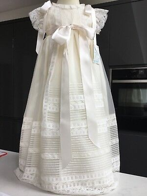 BNWT Spanish Cream Christening Robe and Bonnet Age 6m by Rosy Fuentes