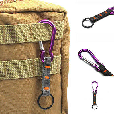 Carabiner Clip Hiking Climbing Hook Tool Key Ring Keychain Buckle with Strap
