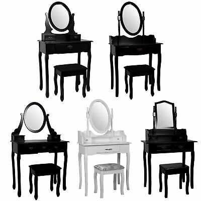 Nishano Dressing Table Drawers Stool Mirror Bedroom Makeup Desk Black White