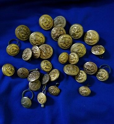 Military Lot Of 30 Assorted Us Navy Buttons