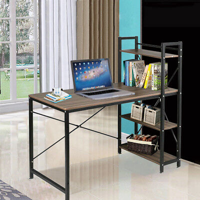 4 Tier Shelving Computer Desk Home Office Workstation Table with Storage Shelves