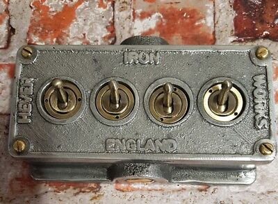 Vintage Industrial Cast Metal 4 Gang Retrofit Light Switch - BS EN Approved