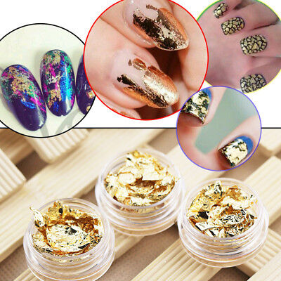 12pcs Nail Art Mirror Gold Silver Flake Foil 3D Sticker Decal DIY Decoration