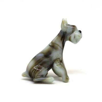 Middle glass figurine Dog - Schnauzer sitting Russian Murano Handmade #175