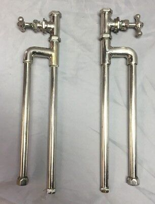 Pair Antique Standard Nickel Brass Sink Tub Water Shut off Valve Vtg  59-18J