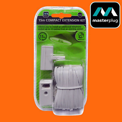 15M Telephone Extension Kit Flat Cable Phone Compact Master Plug Adaptor - New