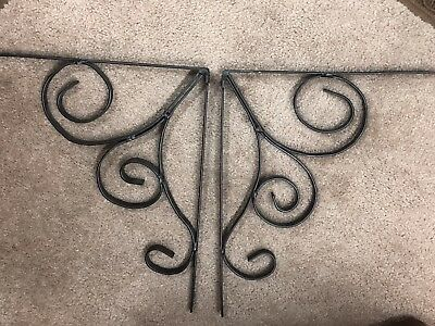 "set of 2   15"" X 12"" Antique Style Cast Iron Decorative Scroll Shelf Brackets"