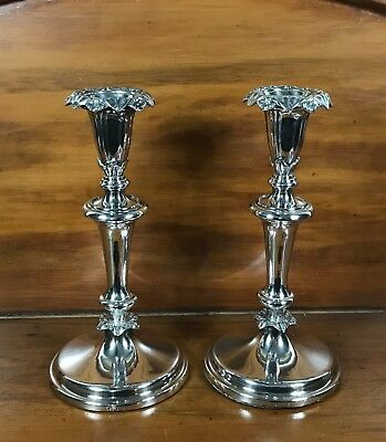 CANDLESTICKS=Pair=English Old Sheffield Plate=Birmingham=1784-1830=Dixon T & Co.