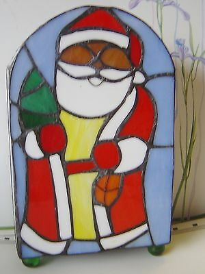"""SANTA Holiday Christmas TIFFANY STYLE Lamp Genuine Hand MADE Stained GLASS 8.5"""""""