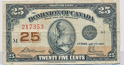 Dominion Of Canada 25 Cents 1923 Shinplaster Dc24C Series M 1923 - F