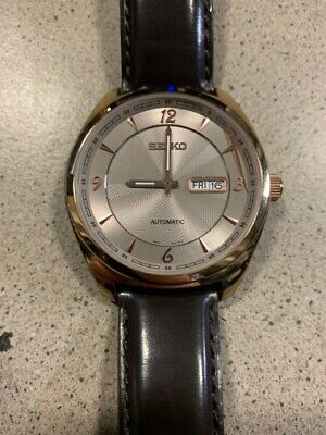 """Seiko SNKN72 """"Recraft Series"""" Men's Automatic Gold & Brown Leather Watch"""