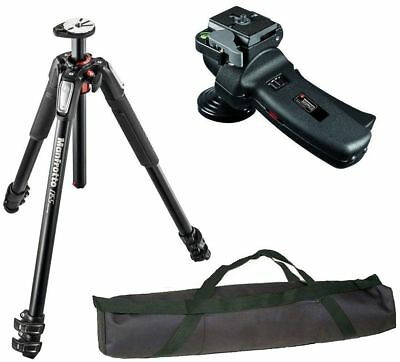 "Manfrotto MT055XPRO3 Aluminium Tripod kit + Head and 35"" Case with Strap Bundle"