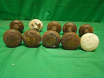 Antique Set Of 5 Iron Ornate Door Knob Sets (10 Knobs) A