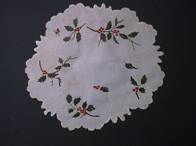 Antique royal silk society Christmas embroidery doilie w different Thread vtg