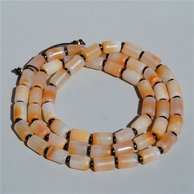 Very Beautiful Natural  Ice White Pink Old Agate Beads Necklace 28 Inches