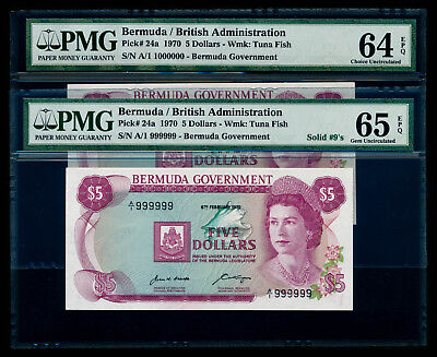 Bermuda 1970 $5 First Prefix Solid No A/1 999999 & A/1 1000000 PMG 65 GEM UNC