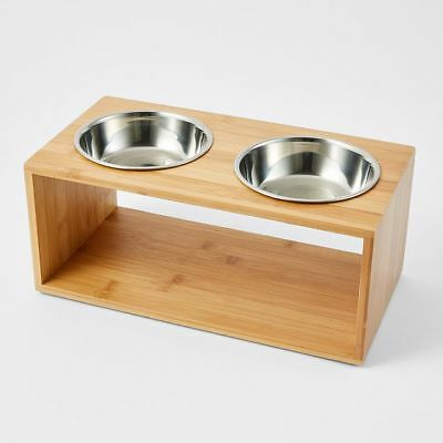 NEW Patch & Socks Bamboo Elevated Twin Bowl Capacity: 350ml each.