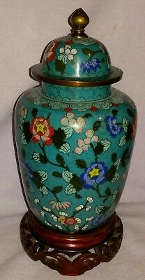 Ca 1900 Large Chinese Cloissone Ginger Jar Bats & Flowers On Wood Stand