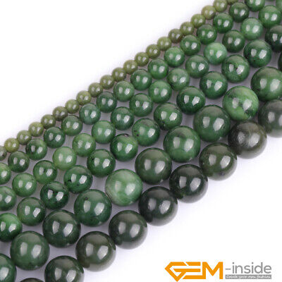 AAA Grade Natural Genuine Green Canadian Jadeite Jade Gemstone Round Beads 15""