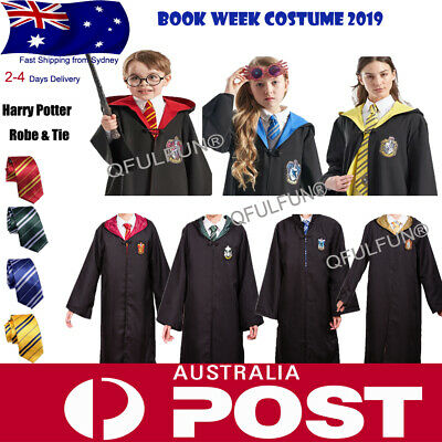 Book Week Costume Harry Potter Slytherin/Ravenclaw Cape Robe Cloak with Tie