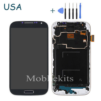 For Samsung Galaxy S4 i337 M919 LCD Touch Screen Digitizer Assembly+Fr+T Black