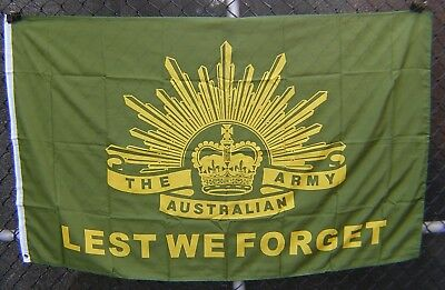 Lest we forget flag Australian Army rising sun diggers ANZAC green gold flag