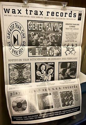 Wax Trax & Play It Again Sam Records 1989 Poster Greater Than One Kmfdm Neon Jud