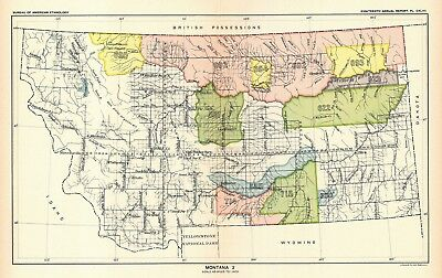 1896 map Montana 2 United States Indian land cessions POSTER 40