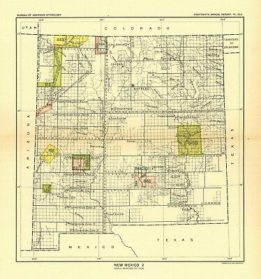 1896 map New Mexico 2 United States Indian land cessions POSTER 45