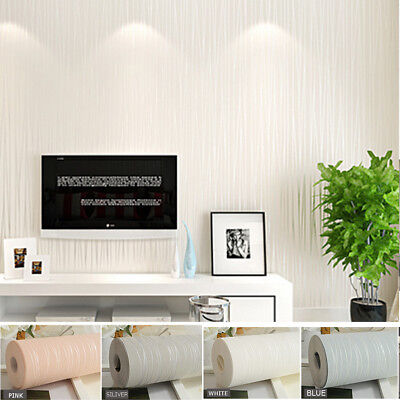 Embossed Non-woven 3D Textured Flocking Wallpaper Wall Paper Home Decor 10m Roll