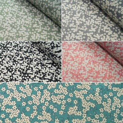 100% Cotton Poplin Fabric John Louden White Flowers Floral Six Petals & Leaves