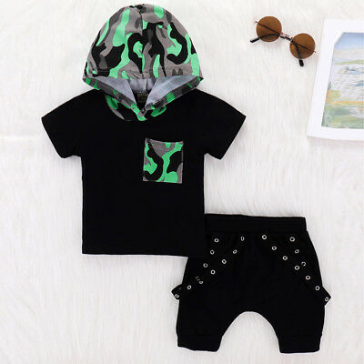 2pcs Newborn Toddler Baby Boy Clothes Camo Hooded T-shirt Tops+Pants Outfits Set