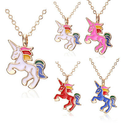 Girls Women Rainbow Silver Little Horse Charm Necklace Pendant Jewellery Gifts