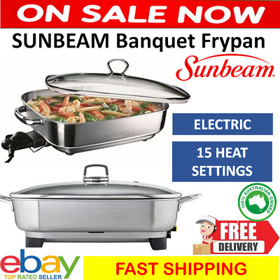 Sunbeam Electric Banquet Frypan Stainless Steel Fry Pan Skillet Skillet Cooker