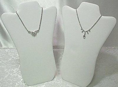 "2 Padded Necklace Display Jewelry Pendant Chain Holder Stands 14"" White"