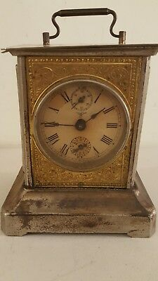 Antique 19th C. German Carriage Clock Mantel Shelf Clock with Musical Alarm