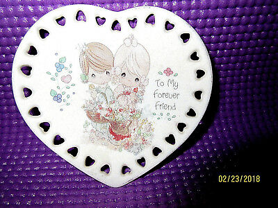 """Precious Moments Heart Shaped Plate: 3 3/8"""": To My Forever Friend"""