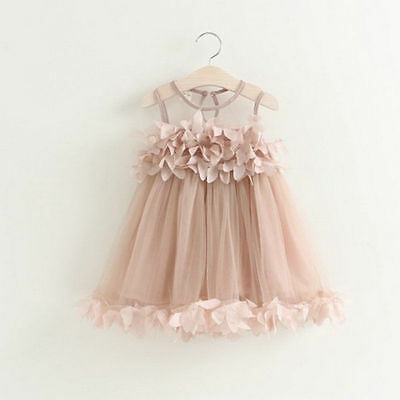 Flower Girls Princess Dress Kid Baby Party Pageant Lace Tulle Tutu Dresses G0238