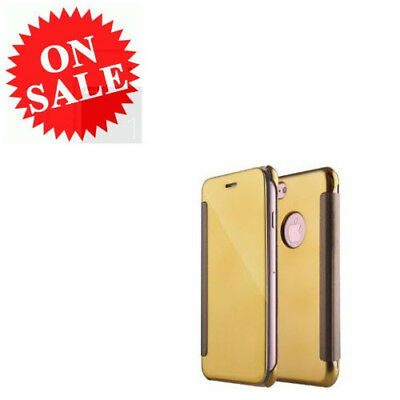 Sprint iPhone 7 Plus Case Leather Gold Ultra Slim Clear Smart View Mirror Cover