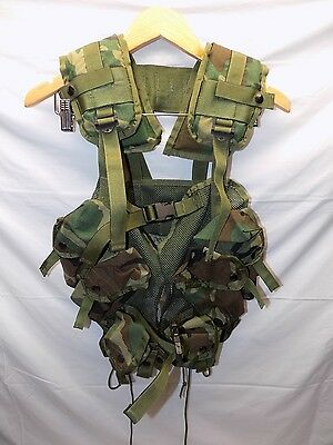 US Military Tactical Enhanced Load Bearing Vest Woodland Camo ELBV