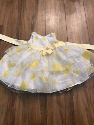 Girls Flower Dress 6/9 Months Yellow And White Girls Dress