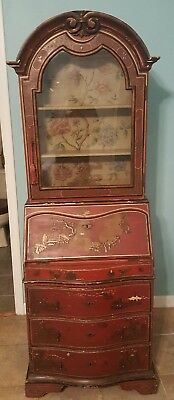 RARE Hand Painted 1700s Queen Anne Wood Secretary Glass Book Case Desk Japan