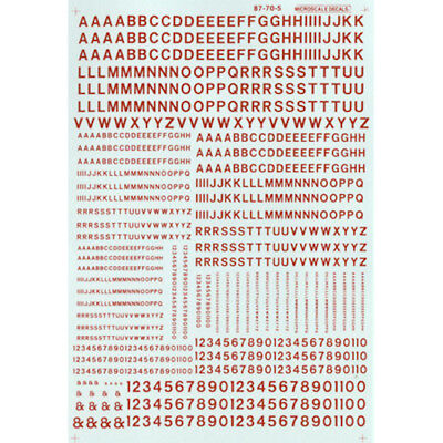 Microscale 90105 HO Scale Decals Letters & Numbers, Gothic/Red