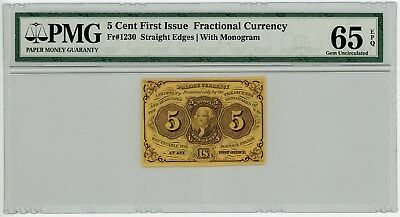 Fr. 1230t 5c 1st Issue Fractional Currency Straight Edges, w/ Monogram 65EPQ PMG