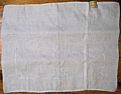 "Baby pillow case vintage embroidered linen button placket closure 16"" x 12 1/2"""