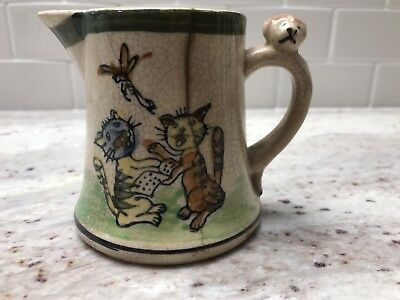 Very Old Unique Hand Paint Creamer with Singing Cats, Heavy Crazing, neat piece!