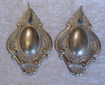 Pair of Vintage Solid Brass ART DECO Wall Hooks  Decor Set  of 2