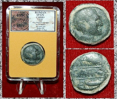 Ancient Roman Spain Coin CARMO Head Of Male On Obverse Grain Ears On Reverse